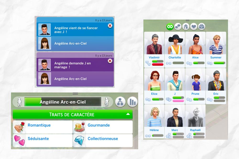 Traits de caractère et relations de mon Sims